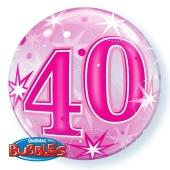 Luftballon Bubble zum 40. Geburtstag, Pink ohne Helium/Ballongas