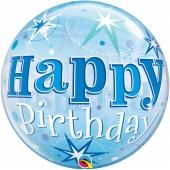 Luftballon Bubble, Happy Birthday Blau ohne Helium/Ballongas