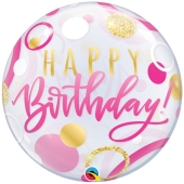 Luftballon aus PVC , Bubble Happy Birthday Pink & Gold Dots inklusive Helium