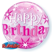 Luftballon aus PVC , Bubble Happy Birthday Pink , inklusive Helium