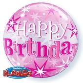 Luftballon Bubble, Happy Birthday Pink ohne Helium/Ballongas