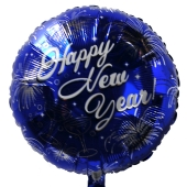 Luftballon Silvester, Happy New Year, Feuerwerk und Champagnergläser, Rundballon mit Ballongas Helium