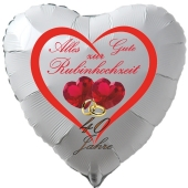 Weißer Herzluftballon Alles Gute zur Rubinhochzeit aus Folie inklusive Ballongas