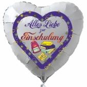 Alles Liebe zur Einschulung. Weißer Luftballon in Herzform für Jungen gefüllt mit Helium