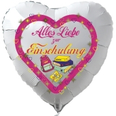Alles Liebe zur Einschulung. Weißer Luftballon in Herzform gefüllt mit Helium