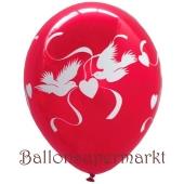 Luftballon Hochzeit, Latexballon rubinrot mit Hochzeitstauben in Weiß