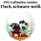 PVC-Folien-Luftballon, Fisch, schwarz-weiß, Insider Ballon, inklusive Helium-Ballongas