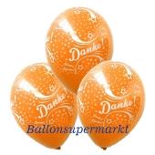 Danke Motiv-Luftballons, 3 Stueck, Orange