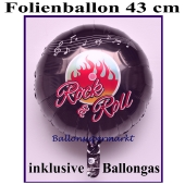 Luftballon aus Folie mit Ballongas, 50er Jahre Party, Rock and Roll