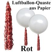 Rote Quaste aus Papier für Luftballons