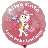 Alles Gute zum Schulanfang! Rosa Luftballon mit Einhorn, ohne Helium-Ballongas