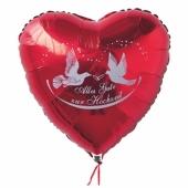 Luftballon zur Hochzeit, Herzluftballon in Rot, Alles Gute zur Hochzeit mit Hochzeitstauben und Ringen