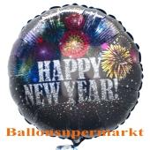 Silvester Luftballon, Silvester-Partydekoration, Folienballon mit Ballongas, Happy New Year Feuerwerk