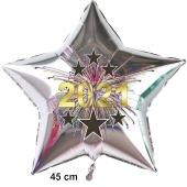 Silberner Silvester Luftballon, Sternballon aus Folie, 2021 - Feuerwerk