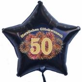 Luftballon aus Folie mit Ballongas, Zahl 50, zum 50. Geburtstag, Jubiläum oder Jahrestag, schwarzer Sternballon, Feuerwerk