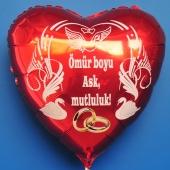 Hochzeitsballon, Luftballon zur Hochzeit, roter Herzballon mit Trauringen: Ömür boyu Ask, mutluluk!