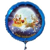 Luftballon aus Folie zu Weihnachten, Weihnachtsmann auf Weihnachtsschlitten mit Helium