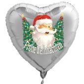 Weihnachtsmann mit Weihnachtsbäumen Luftballon, Herzballon silber zu Nikolaus und Weihnachten