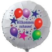 Willkommen zuhause! Luftballon aus Folie mit Helium Ballongas. Balloons and Stars.