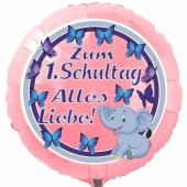Zum 1. Schultag Alles Liebe! Runder, hellrosa Luftballon ohne Helium-Ballongas