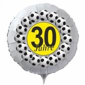 Luftballon aus Folie zum 30. Geburtstag, weisser Rundballon, Fußball, schwarz-gelb, inklusive Ballongas