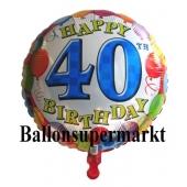 Luftballon aus Folie zum 40. Geburtstag, Balloons, Ballon mit Helium-Ballongas