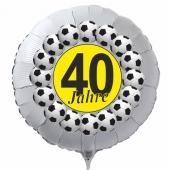 Luftballon aus Folie zum 40. Geburtstag, weisser Rundballon, Fußball, schwarz-gelb,  inklusive Ballongas
