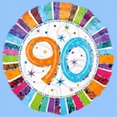 Luftballon zum 90. Geburtstag, Happy Birthday Prismatic, Ballon mit Ballongas-Helium