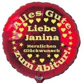 Zum Abitur, personalisierter Luftballon aus Folie mit Vornamen, roter Rundballon mit Ballongas-Helium