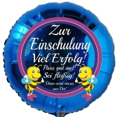 Zur Einschulung Viel Erfolg! Blauer Luftballon mit Ballongas Helium gefüllt