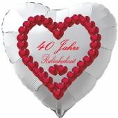 Weißer Luftballon in Herzform zur Rubinhochzeit, 40 Jahre