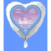 Luftballon in Herzform zur Taufe eines Jungen, Glück und Segen auf Deinen Wegen