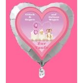 Luftballon in Herzform zur Taufe eines Mädchens, Glück und Segen auf Deinen Wegen