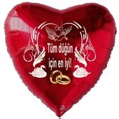 Hochzeitsballon, Luftballon zur Hochzeit, roter Herzballon mit Trauringen:Tüm düğün için en iyi