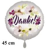 Danke. Rundluftballon aus Folie, satin-weiß-flowers, 45 cm