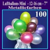 Luftballons 12-16 cm, Metallicfarben, 100 Stück