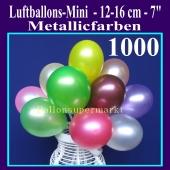 Luftballons 12-16 cm, Metallicfarben, 1000 Stück