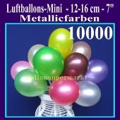 Luftballons 12-16 cm, Metallicfarben, 10000 Stück