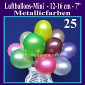 Luftballons 12-16 cm, Metallicfarben, 25 Stück