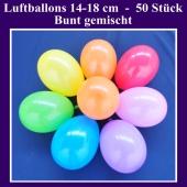 Luftballons 14-18 cm, kleine Rundballons aus Latex, bunt gemischt, 50 Stück