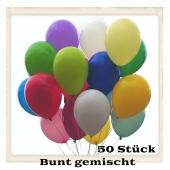 Luftballons 23 cm, Bunt gemischt, 50 Stück