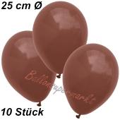 Luftballons 25 cm, Braun, 10 Stück