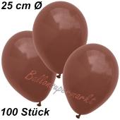Luftballons 25 cm, Braun, 100 Stück