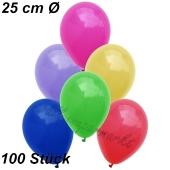 Luftballons 25 cm, Bunt gemischt, 100 Stück