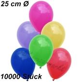 Luftballons 25 cm, Bunt gemischt, 10000 Stück