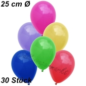 Luftballons 25 cm, Bunt gemischt, 30 Stück
