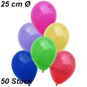 Luftballons 25 cm, Bunt gemischt, 50 Stück