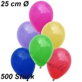 Luftballons 25 cm, Bunt gemischt, 500 Stück