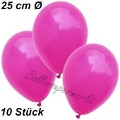 Luftballons 25 cm, Fuchsia, 10 Stück