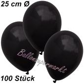Luftballons 25 cm, Schwarz, 100 Stück